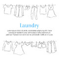 Laundry service banner template with clothes hanging on clothesline, hand drawn sketch, vector illustration.
