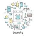 Laundry Service Thin Line Icons Set with Laundrette