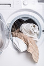 Laundry in the washing machine Royalty Free Stock Image
