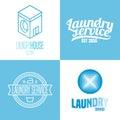 Laundry, washing service set of vector logo, icon, symbol, emblem