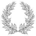 Laurel Bay white black leaf Hand drawn vector illustration. Vintage decorative laurel wreath.
