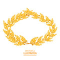 Laurel Crown. Greek Wreath With Golden Leaves. Vector Illustration Royalty Free Stock Photo