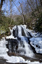 Laurel falls in great smoky mountains national park the the winter near gatlinburg tennessee Stock Image