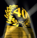 Laurel wreath with number forty inside on a golden pedestal Royalty Free Stock Image