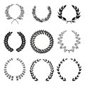 Laurel wreath set of silhouettes in black color Stock Photos