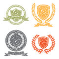 Laurel Wreath And Shields Grunge Stamps Set Royalty Free Stock Photo