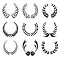 Laurel wreath symbol set abstract black Stock Photography
