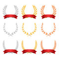 Laurel Wreath Trophy Set Vector. Award Placement Achievement. Realistic Gold Silver Bronze Laurel Wreath. Red Ribbon