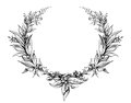 Laurel wreath vintage Baroque frame border monogram floral heraldic shield leaf engraved flower tattoo black and white vector