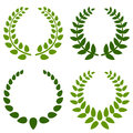 Laurel wreaths collection of four green wreath isolated on white background Stock Images