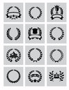 Laurel wreaths icon vector black set on gray Royalty Free Stock Images