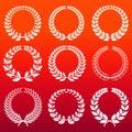 Laurel wreaths set - white decorative winners wreath