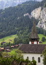 Lauterbrunnen valley and church view Royalty Free Stock Photography