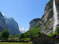 Lauterbrunnen valley with waterfalls in alps Royalty Free Stock Photo