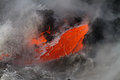 Lava flow enters the sea in hawaii Royalty Free Stock Photos