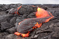 Lava flow in hawaii kilauea volcano Stock Photo