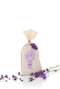 Lavender aromatherapy herbs and bag with dry on white background alternative medicine Royalty Free Stock Images