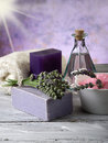Lavender and  bath product Royalty Free Stock Photography