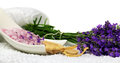 Lavender bath salt with fresh lavender flowers spa decoration Royalty Free Stock Images