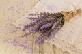 Lavender bunch and lavender bath salt of on lace doily Royalty Free Stock Photography