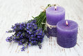Lavender and candles on a old wooden background Royalty Free Stock Photo