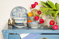 Lavender colored cabinet with antique old crockery and glass bowl Royalty Free Stock Image