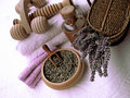 Lavender composition beauty and body care products Stock Photography