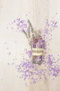 Lavender essential oil in a glass bottle Royalty Free Stock Photo