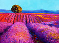 Lavender fields original oil painting of on canvas sunset landscape modern impressionism Stock Photo