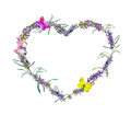Lavender flowers, butterflies. Watercolor floral heart frame for Valentine day, wedding Royalty Free Stock Photo