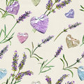 Lavender flowers, hearts. Seamless pattern for Valentine day. Watercolor