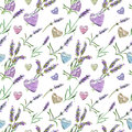 Lavender flowers, hearts. Seamless pattern. Watercolor