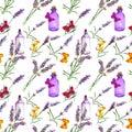Lavender flowers, oil bottles, butterflies. Seamless pattern for alternative medicine, aromatherapy. Watercolor