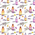 Lavender flowers, oil perfume bottles, butterflies. Repeating pattern for cosmetic, perfume, beauty design. Vintage