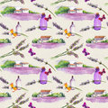 Lavender flowers, oil perfume bottles, butterflies with rural houses and lavender fields. Repeating pattern for cosmetic