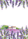 Lavender flowers and rural farmhouse. Watercolor card