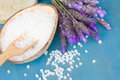 Lavender flowers spa fresh and aromatic salt on a table Stock Image