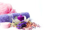 Lavender flowers and wellness accessories Royalty Free Stock Photo
