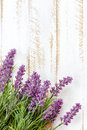 Lavender flowers on a wooden background Royalty Free Stock Photo