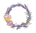 Lavender flowers wreath, textile hearts. Watercolor in rustic provencal style Royalty Free Stock Photo