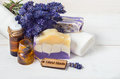 Lavender handmade soap and accessories for body care lavender spa concept towel oil Royalty Free Stock Photo