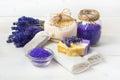 Lavender handmade soap and accessories for body care spa concept towel sponge sea salt Stock Image