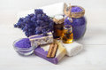 Lavender handmade soap and accessories for body care Royalty Free Stock Photo