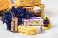 Lavender handmade soap oil spa concept and accessories for body care towel sponge sea salt Royalty Free Stock Photos