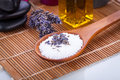 Lavender massage oil and bath salt aroma therapy wellness beauty spa objects Stock Image
