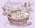 Lavender natural cosmetics basket.