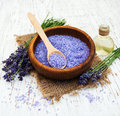 Lavender oil with bath salt Royalty Free Stock Photo