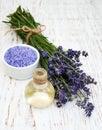 Lavender oil with bath salt Royalty Free Stock Photo