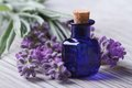Lavender oil in a blue glass bottle and flowers horizontal Royalty Free Stock Photo