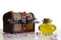 Lavender oil and flowers Royalty Free Stock Photo